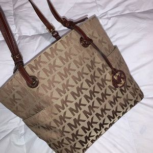 Michael Kors Leather-Trimmed Monogram Tote